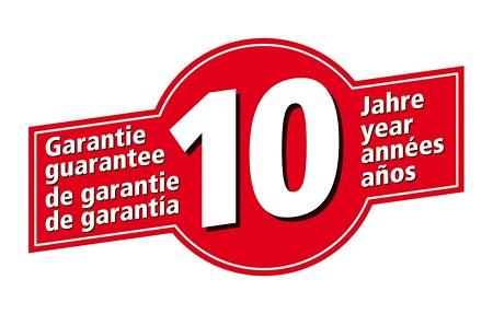 Symbol für 10 Jahre Garantie